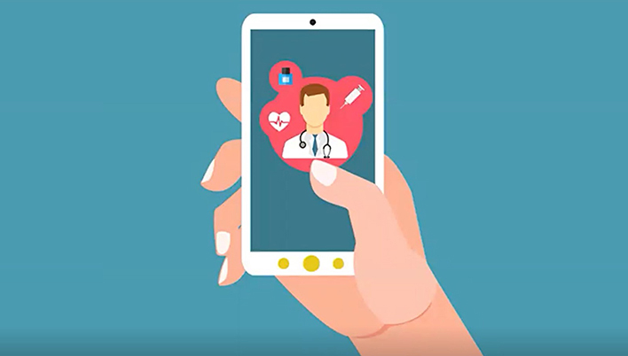 Telehealth via Mobile Illustration